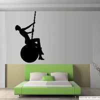 """WRECKING BALL WITH MILEY SILHOUETTE ~ MILEY CYRUS WALL DECAL 13"""" X 23"""" SM"""