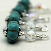 Turquoise Ribbed Melon with Clear AB Czech Crystal Bead Dangle Charm Drop Set