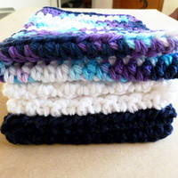 Crocheted Cotton Dish Cloth Set in Navy, White and Variegated