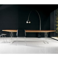 "Curzon 87"" Dining Table, Stainless Steel-Teka Finish"