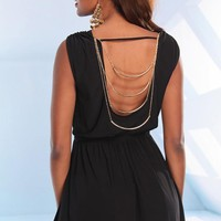 Black Sleeveless Dress with Open Chain Back Detail