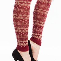 Heart Fair Isle Knit Leg Warmers