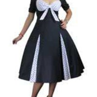 Black/Polka-dot Plus-size Retro Polka-Dot Swing Dress