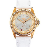 Stella Pink Gold and White Leather Watch