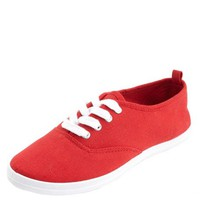 Lace-Up Canvas Sneakers by Charlotte Russe - Red