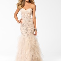 PARTY PERFECT DRESSES | Blush Strapless Corset Gown | Caché
