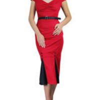 Red Plus-Size Vintage Pencil Dress