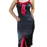 Black Plus-Size Satin Straps Dress