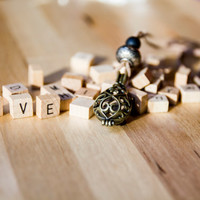 Personalized necklace wooden scrabble letters