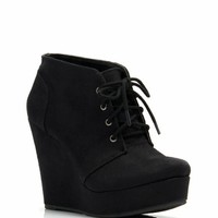 Faux Suede Platform Wedge Booties