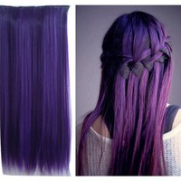 Uniwigs Dark Purple Color Clip in Hair Extension 60cm Length Straight for Fashion Cool Women Tbe0025