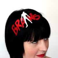 Zombie Brains embroidered headband red and white by janinebasil