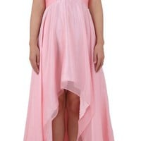 LASHAR Women's Strapless High Low Chiffon Prom Dress
