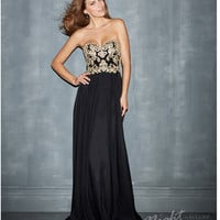 Night Moves by Allure 2014 Prom Dresses - Black Chiffon & Beaded Strapless Prom Gown