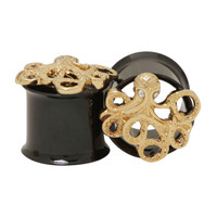 Steel Gold Tone Octopus Black Eyelet Plug 2 Pack