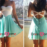 Short White/Mint lace prom dress, homecoming dress, evening dress,party dress,bridesmaid dress
