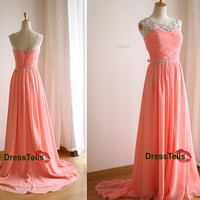V Back Sheer Beading Neckline Prom Dress / Pink Prom Dress 2014 / Beaded Evening Dress/Homecoming Dress/Graduation Dress/Formal Dress