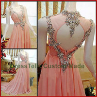 Long Prom Dress / Pink Prom Dress 2014 / Beaded Evening Dress / Purple Party Dress / /Homecoming Dress/Graduation Dress/Formal Dress