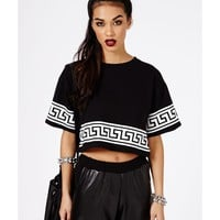 Missguided - Dulce Greek Key Print Oversized Crop Top In Black