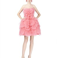 STRAPLESS TULLE PETAL DRESS