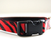Red Tiger Stripe Dog Collar Adjustable Sizes (XS, S, M)