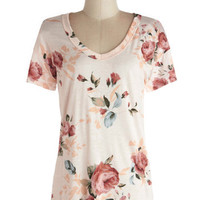 ModCloth Mid-length Short Sleeves Florist's Apprentice Tee