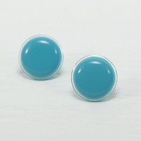 Turquoise Stud Earrings 18mm - Turquoise Earrings - Turquoise Studs - Modern Round Ear Stud - Turquoise Post Earrings - Gift Ideas