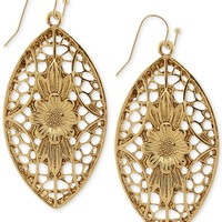 2028 Gold-Tone Floral Filigree Drop Earrings