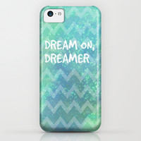 Dream On, Dreamer - Aqua Chevron Galaxy iPhone & iPod Case by Tangerine-Tane