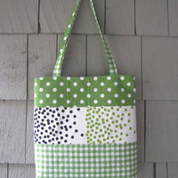 Green Patchwork Tote Bag- green tea polka dots