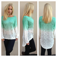Mint & Ivory Light Knit Hi Low Sweater