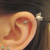16 Gauge Arrow Helix Piercing Earring Stud Post Arrowhead Head Industrial Cartilage Ear Jewelry
