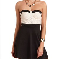 STRAPLESS LACE BUSTIER DRESS