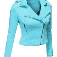 Doublju Women's Poly Fleece Cropped Moto Jacket