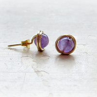 Amethyst Stud Earrings, Gold Wire Wrapped, February Birthstone, Purple Post Earrings, Gemstone Studs, Bridesmaid Studs