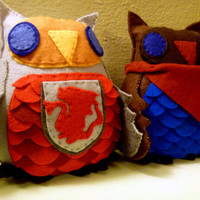 BBC Merlin and King Arthur Owl Plushes