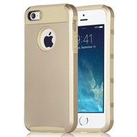 Pandamimi UlAK(TM) Shockproof Dirt Dust Proof Hard Matte Cover Case For iPhone 5 5S with Screen Protector and Touch Stylus (Gold + Gold)