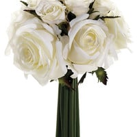 Small Confetti Fake Rose Wedding Bouquet in Cream White