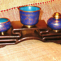 CLOISONNE VINTAGE TABLE SET OF 4 COBALT BLUE  !PERFECT GIFT!