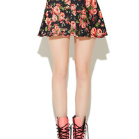 Floral Ponte Skater Skirt | Wet Seal