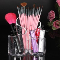 New Makeup Clear Acrylic Cylindrical Cosmetic Holder Organizer Brush Storage Box