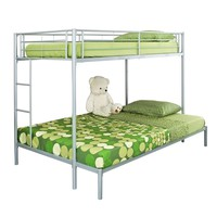 WE Furniture Metal Double Bunk Bed, Twin, Silver