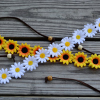 Flower Crowns Package Deal Sunflower and Daisy Flower Crown Flower Halo Floral Halo Hippie Headpiece Summer Festival Flower Crowns Daisies
