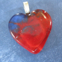 Red and Blue Heart, Love Pendant, Valentines Day, Heart Jewelry - Ryleigh - 4525 -4