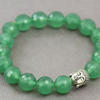 Buddha Bracelet : Bright Fern Green Glass Beaded Bracelets, Buddha Bead, Silver Plated, Handmade in Canada, ArtisanTree