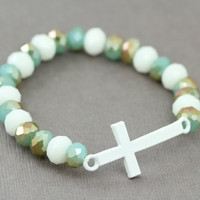Sideways Cross Bracelet : Aqua and White Glass Beaded Bracelets, White Cross, Handmade in Canada