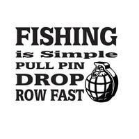 8 Inch Fishing Is Simple Grenade Fishing Decal Sticker FSN1 (64)