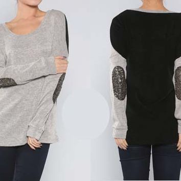 Sequin Elbow Grey and Black Sweater Top