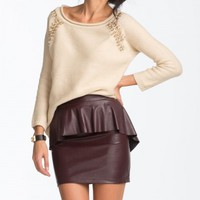 Rhinestone Knit Sweater-Taupe