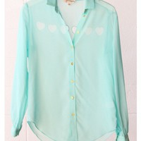 Tiny Hearts Cut Out Blouse - Tiffany Blue